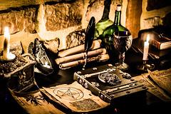 Le grimoire du nécromancien. (SylvainB_) Tags: médiéval fantastique magie grimoire magic book dark weird nécromancer mage witch sorcellerie bougie candle parchemin sombre old ancien