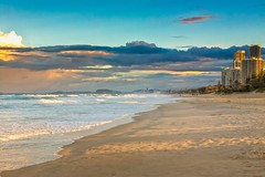 Evening Waves At The Gold Coast (k009034) Tags: 500px waves australia copy space gold coast pacific queensland tranquil scene buildings clouds evening nature ocean oceania people sand sea shadows sky sunset travel destinations water teamcanon