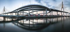 Rama 9 Bridge (fredMin) Tags: panorama bhumibol bridge bangkok thailand architecture fujifilm xt1 reflection