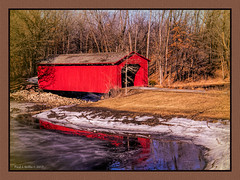 A January Thaw (jackalope22) Tags: winter january thaw reflection red bridge easter lake