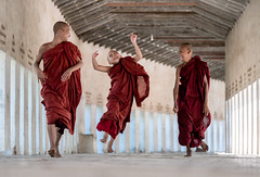 Bounce (gheckels) Tags: bounce monks joy novice happy fun smile bagan myanmar myanmartravelphotography travel bbctravel travelportrait red life people candid lumix heckelsphotography
