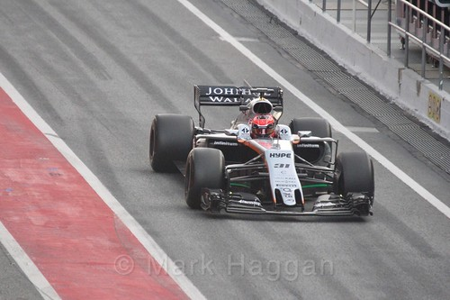 Esteban Ocon in his Force India in Formula One Winter Testing 2017
