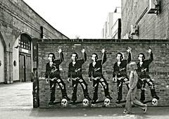 Flashback (Becky Frances) Tags: city uk england urban blackandwhite streetart london girl vintage graffiti candid streetphotography documentary highcontrast olympus retro shoreditch socialdocumentary eastend eastlondon 2015 lensblr beckyfrances
