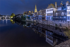 Evening by the river (Beardy Git) Tags: city longexposure sunset france reflection water night buildings river evening indre dusk wideangle 1020mm argenton canoneos7d