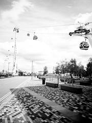 Emirates Air Line (Mr Exploding) Tags: london monochrome emirates cablecar gondola docklands publictransport vignette masstransportation transportforlondon greenwichpeninsula emiratesairline gondolalift transportationlink vignetteforandroid monocabledetachablegondola