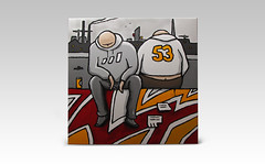 Spring-By-The-Vistula-River-by-Simeon-Genew-acrylic-70x70cm (simeon genew) Tags: city people colors modern graffiti waiting comic contemporary cartoon grayscale cracow simplistic ligneclaire