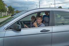 Teenage Driver Behind the Wheel (aaronrhawkins) Tags: street smile up car wheel drive student scary automobile joshua aaron excited jackson patient teacher permit learning driver behind practice roads thumbs bunnyears hawkins kellie eager cringe safer learners