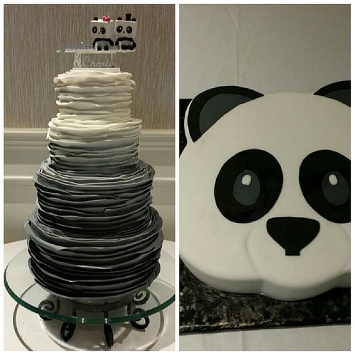 Ombre Ruffle Wedding Cake With The Cutest Topper And Emoji Panda