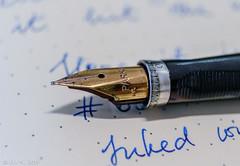 Parker 75 (kitchener.lord) Tags: macro ink pens 75 stationery nib parker 2015 diamine majesticblue fujinonxf1855 rhodiawebbiedotted