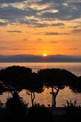 Three trees...sunrise over Lago Bracciano (EXPLORE 10-23-15). Italia (stevelamb007) Tags: italy stevelamb silhouette lake reflection italia bracciano lagobracciano lakebracciano nikon d90 18200mm sunrise tree pine landscape explore