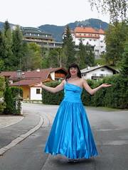 Austria in style (Paula Satijn) Tags: blue sexy girl smile lady outside happy austria shiny dress silk skirt tgirl transvestite chic gown satin gurl classy elegance ballgown kitzbhel