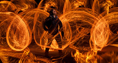 Throught the fire (the-mm) Tags: lightpainting night fire funny flames creative mad firepainting
