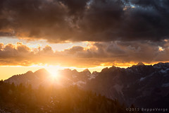 Tramonto al Pordoi - Dolomiti (beppeverge) Tags: autumn mountain alps fall foliage autunno alpi montagna unescoworldheritage dolomites dolomiti altoadige dolomiten italianlandscape sudtirol ladino larici beppeverge