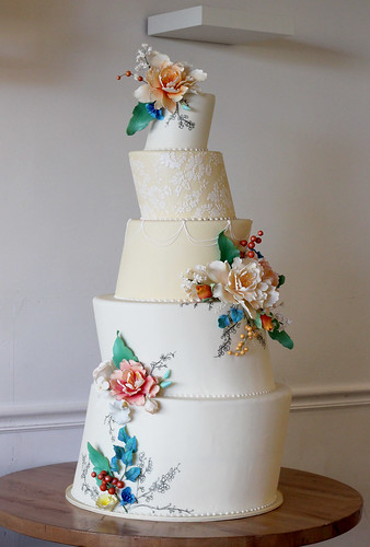 Off-Set Spring Flowers and Berries Wedding Cake