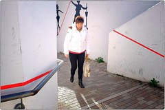 Red Thin Line (Steve Lundqvist) Tags: street streetphotography line remind fujifilm x100s strada candid people italy italia dof pov 35mm graffiti wall madam woman jacket red painting murales drawing black white graphic