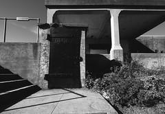 ready to burst (Super G) Tags: nikon293 abandoned bunker bw blackandwhite concrete door rivets steel stair bulging