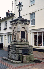 Totnes.  March 2000 (Cynthia of Harborough) Tags: 2000 architecture art fountains lamps troughs water