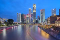 Singapore River (ZawWai09) Tags: singapore singaporeriver boat lighttrails
