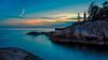 Blue Hour Lighthouse (Sworldguy) Tags: lighthousepark lighthouse westvancouver britishcolumbia bc nightscene bluehour landscape shoreline rockcliffs nikon dslr d7000 dusk sunset clouds