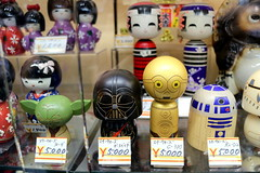 Star Wars Kokeshi (こけし) dolls... (Manuel Negrerie) Tags: kokeshi dolls wooden starwars c3po r2d2 vador japan sight moment photography yoda