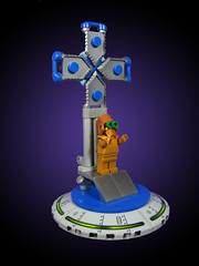 Preacher Pietyr's Portable Pulpit (Karf Oohlu) Tags: lego moc churchofalientology minifig crucifix cross pulpit mobilepulpit preacher