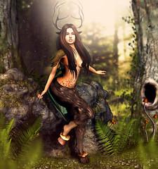 Forest soul (meriluu17) Tags: thefantasygachacarnival tfgc fgc faun fawn fauna forest soul guardian tree rock rocks woods plants hoovs horn horns mushilu eternal dream fantasy outdoor people magical magic surreal furr antlers