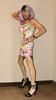 Cortney - Lavender / Purple Wig and Floral dress - somewhat casual look (Cortney10100) Tags: tg tgirl tgurl transgender heels highheels femme tranny trannie transsexual transvestite crossdress crossdresser stilettos cortney indoor tv floral tranvestite