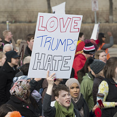 Protest against Donald Trump's immigration policies (Fibonacci Blue) Tags: minneapolis mpls protest demonstration event twincities minnesota immigrant refugee muslim downtown islam mexico city mexican trump love hate immigration deportation ice raid donaldtrump president text sign resist