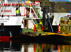 Scotland Greenock the ship repair dock men working on the car ferry Loch Fyne 27 February 2017 by Anne MacKay (Anne MacKay images of interest & wonder) Tags: scotland greenock ship repair dock men workmen caledonian macbrayne car ferry loch fyne xs1 27 february 2017 picture by anne mackay