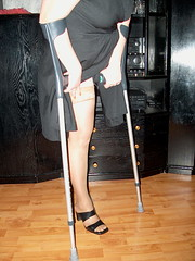 amp-1324 (vsmrn) Tags: amputee woman crutches onelegged pantyhose nylon