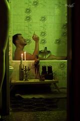 Jef in the Bathroom (tim_asato) Tags: portrait man hot sexy male men verde green beard table bathroom model legs retrato handsome hunk modelo smoking parakeet bathtub truk smoker guapo velas baño baba hombre loro candels bañera maniqui cigarro bandeja maniquin beardedmen masculino cigarret timasato jeffagnard