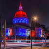 all american tribute (pbo31) Tags: sanfrancisco california city red summer urban panorama black color night america dark nikon traffic cityhall 911 over large panoramic illuminated september tribute remembrance redwhiteandblue stitched civiccenter 2015 lightstream vannessavenue boury pbo31 d810