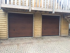 Pair of Hormann M Ribbed in dark oak fitted in Crowborough