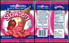 Baskin Robbins hard candy bag - Strawberry - 2000 (TheCandyCache) Tags: strawberry candy baskinrobbins candywrapper hardcandy strawberrycandy oldcandy baskinrobbinscandy