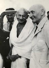 Frederick Pethick Lawrence with Mahatma Gandhi, c.1930s.