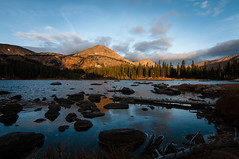 Diamants (Patrick.Russell) Tags: morning wild mountain lake mountains reflection nature clouds sunrise landscape outdoors nikon colorado outdoor co wilderness daybreak diamondlake d300 indianpeakswilderness induro cloudsstormssunsetssunrises