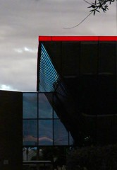 Red & Blue Triangular Architecture (chicbee04) Tags: triangle colorful tucson cloudy greysky buildingarchitecture arizonausa