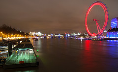 River Thames & London Eye (Morgan Masters photography) Tags: street city longexposure colour building london colors thames architecture night buildings river dark stream colorfull streetphotography londoneye streaks longshutter thamesriver colur colourfull