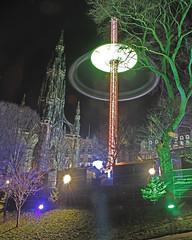 Edinburgh Sky Flyer and the Scott Monument Princess Street. (Adrian Walker.) Tags: christmas canon festive lights scotland edinburgh elements tamron