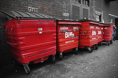 Red Refuse [6/365 2017] (steven.kemp) Tags: biffa norwich 365 project red bin dump garbage rubbish cart street william booth