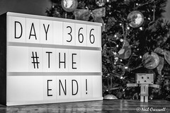 366/366 The End (crezzy1976) Tags: nikon d3300 crezzy1976 photographybyneilcresswell photoaday indoors theend 365 366challenge2016 day366 blackandwhite monochrome danbo lightbox