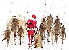 Merry X'mas (Nellytella) Tags: watercolor people ink santa christmas merrychristmas aquarelle winter illustration