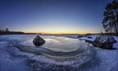 Freezing pond (Kari Siren) Tags: pond lake cold morning stone rock karijarvi finland