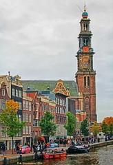 Westerkerk, Anne Frank House and Prinsengracht, Amsterdam (PhotosToArtByMike) Tags: westerkerk prinsengrachtcanal annefrankhouse jordaan amsterdam canalring grachtengordel netherlands dutch holland church