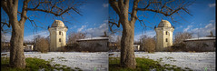 Observatory tower, part of the former estate of academician Pallas (urix5) Tags: observatory astronomy tower blue sky snow winter simferopol crimea russia park estate pallas tree sunny 3d stereo stereoscopic stereoscopy stereopair crossview crosseyed