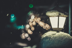 Let it snow (Vagelis Pikoulas) Tags: snow snowing lamp bokeh light lights lightroom canon 6d tamron 70200mm vc night handheld camera vilia winter greece