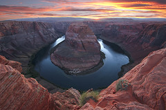 Horseshoe Bend Sunset (loreejohnson) Tags: horseshoebendsunset horseshoebend pageaz meander desertsouthwest navajonation tribalpark horseshoe bend coloradoriver canyon sunset river colorado sandstone orange erosion blue monolith water stone rock cliff desert arizona nature landscape photography scenic beautiful natural beauty photograph outdoors outdoor photo scenery scene picture southwest yellow green loreejohnson