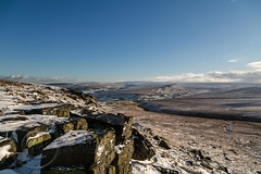 January Snow 2017 002 - Buckstones above Marsden (Mark Schofield @ JB Schofield) Tags: huddersfield pennines pennineway moors moorland peat nationalpark thenationaltrust marsden scammonden pulehill marchhaigh wessenden wessendenvalley meltham wessendenhead reservoir water watershed snow winter landscape bog rock ice outdoors open space panoramic canon 5dmk3 holmemoss mast