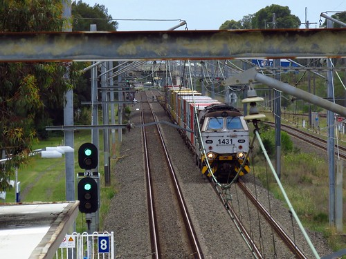 Locomotive 1431 brings a Botany to Minto 'trip train' through Leightonfield, NSW