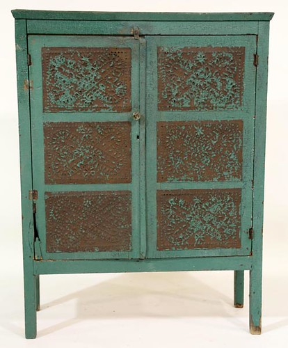 Green Painted 12 Tin Pie Safe ($504.00)